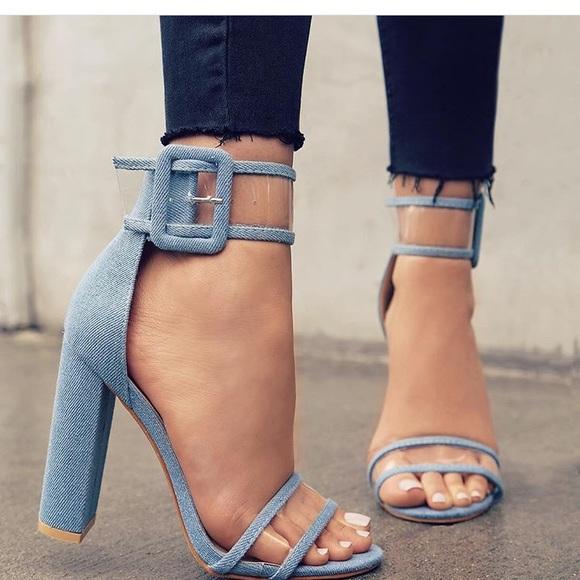 3e17de43766 Lola Shoetique Shoes - NEW Denim Clear High Heel Sandal with Ankle Strap